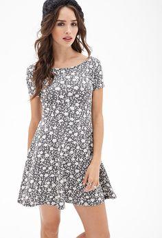 F21 Textured floral skater dress