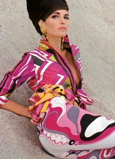 """Silda: """"Do you like the Pucci I'm wearing?"""" Polly: """"Do you mean- do I like the quote/unquote 'Pucci' you're wearing?"""" Stephanie Seymour in Pucci for Vogue UK, December Photo by Herb Ritts. Stephanie Seymour, Patti Hansen, Pink Fashion, 90s Fashion, Fashion Models, Fashion Designers, Color Fashion, Runway Fashion, Lauren Hutton"""