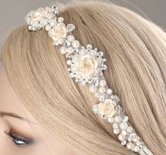 *Beautiful crystal pearl headband, rhinestone hairpiece This is perfect accessory for bride, bridesmaids or lots of special days.  *Size approximately 1 wide and 60 long *Color, materials -rhinestones, off white satin ribbon, ivory polymer clay flowers, pearls   **each of my creations is made of high quality materials with lots of love and hand made to order in my studio. All the processes are made by my hands. **I welcome custom order. If you would like a different size or color, please…