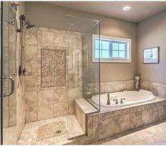 8 Dream Bathrooms Master Baths Walk In Shower Pebble Floor 45 - Modern Bad Inspiration, Bathroom Inspiration, Bathroom Ideas, Shower Ideas, Bathroom Designs, Bathroom Design Layout, Bathtub Ideas, Bathroom Layout Plans, Bathroom Hacks