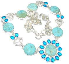 $110.50 Amazing Blue Angelite Sterling Silver necklace at www.SilverRushStyle.com #necklace #handmade #jewelry #silver #angelite