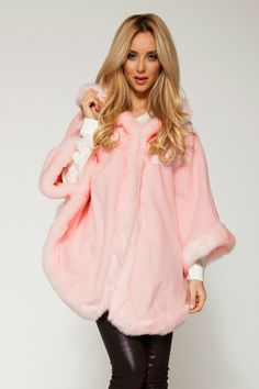 Wool Cape #pink #faux #fur #trim (maybe not pink for me, but I like it)