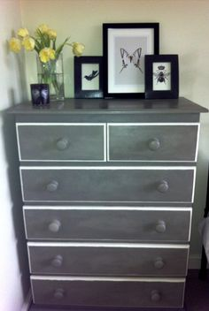 Old pine chest of drawers painted in Annie Sloane 'Paris Grey' and 'Old White'