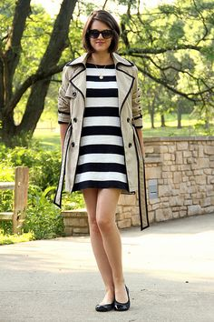 cute trench but the dress reminds me of prison stripes