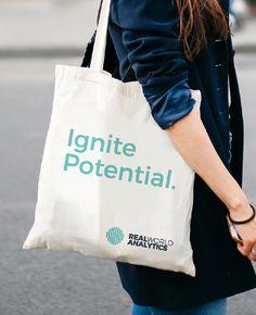 Real World Analytics - Technology Brand Identity Design & Positioning - Tote bag Brand Identity Design, Logo Design, Visual Analytics, Business Intelligence, Visual Identity, Cool Things To Make, Branding, Technology, Tote Bag