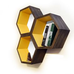 Wood Book Shelves - Large Honeycomb Book Shelf - Mid Century Modern Decor - Geometric Furniture - Hexagon Shelves -Solid Walnut - Set of 3 by HaaseHandcraft on Etsy https://www.etsy.com/listing/126238555/wood-book-shelves-large-honeycomb-book