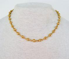 Vintage 1993 Unsigned Avon Golden Bead Gold Tone Ball Beaded Goldtone Chain Modern Minimalist Polished Glossy Choker Length Necklace by ThePaisleyUnicorn on Etsy