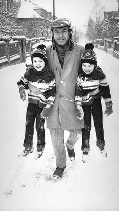 """A Czech film director Miloš Forman (Born: Czechoslovakia, 1932 - ) with his twin sons Peter and Matěj"" Photo: Stanislav Tereba (Born: Czechoslovakia, 1938 - ) Czechoslovakia - Praha (Prague), Winter Photo Lens, Film Director, Photojournalism, Prague Winter, Sons, Twin, Photography, Fictional Characters, My Son"