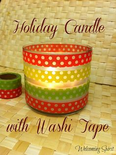 Holiday candle with Washi Tape - easy 5 min update!