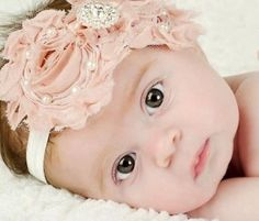 Baby Pink Satin Rosette Feather & Pearl Headband-