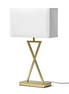 Bordslampa med rektangulär skärm och kryssformad lampfot i metall. Komplettera med ljuskälla 60 W/E27.