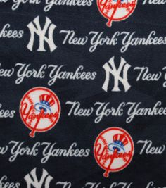 New York Yankees MLB Tossed Print Fleece Fabric by CraftsbyRuthanne on Etsy