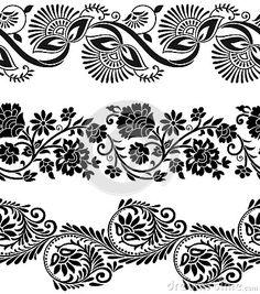 Risultati immagini per indian border stencil Hand Embroidery Design Patterns, Textile Pattern Design, Textile Patterns, Motif Vector, Vector Border, Pattern Drawing, Pattern Art, Batik Pattern, Boarder Designs
