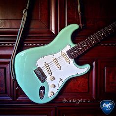 Surf Green Straturday from @vintagetone #stratocaster #jeffbeck Learn to play guitar online at www.studio33guitarlessons.com