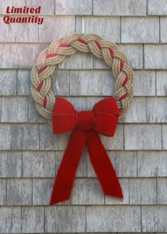 New England meets Chesapeake Bay for the perfect Coastal Christmas. This Natural Rope Wreath can be adorned with Red, Green or Navy Ribbon to match your decor. Handmade in Marblehead, MA.This Pin was discovered by DİL Rope Crafts, Wreath Crafts, Diy Wreath, Mesh Wreaths, Christmas Projects, Holiday Crafts, Wreath Bows, Burlap Wreaths, Coastal Wreath