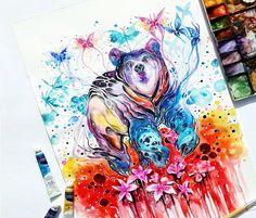 Bear watercolor by Art Jongkie