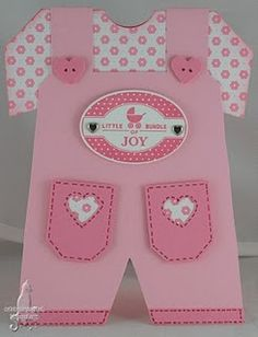 Hi Everyone, I have made another two baby cards for the ESAD - SU Baby Card Challenge this week. The challenge is to make a Baby Girl c. Baby Girl Cards, New Baby Cards, Handgemachtes Baby, Diy Baby, Baby Bibs, Baby Overalls, Baby Jumper, Karten Diy, Shaped Cards
