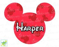 Mickey Head Disney Printable Iron On Transfer or Clipart DIY Disney Shirt Personalized Disney Mickey Ears Download Disney World Disneyland by TheWallabyWay on Etsy