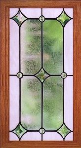 leaded glass kitchen cabinet door | Star Bevel-add color: beige border, amber diamonds, green circles, obscure clear in center