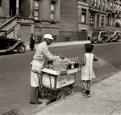 New York, summer 1938. Street vendor of shaved ices. Medium format nitrate negative by Jack Allison for the Farm Security Administration.
