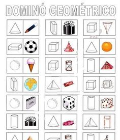 Domino med former 3d Shapes Worksheets, Geometry Worksheets, Fun Math, Math Games, Play School Activities, Math Charts, English Lessons For Kids, Math Projects, Kindergarten Literacy