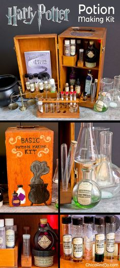 DIY Harry Potter Potion Making Kit for every Hogwarts-bound student! Chica and Jo Harry Potter Halloween, Harry Potter Diy, Natal Do Harry Potter, Harry Potter Navidad, Harry Potter Weihnachten, Décoration Harry Potter, Harry Potter Thema, Harry Potter Classroom, Harry Potter Bedroom