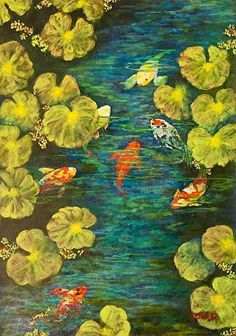 "Daily Painters Abstract Gallery: Water Painting, Fish, Koi,""Cool Water Sanctuary"" Florida Impressionism Artist Annie St Martin"