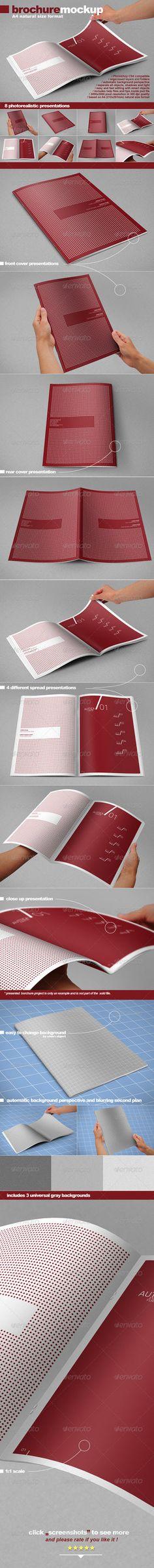 Photorealistic A4 Brochure Mock-up by GraphicAssets.deviantart.com on @DeviantArt