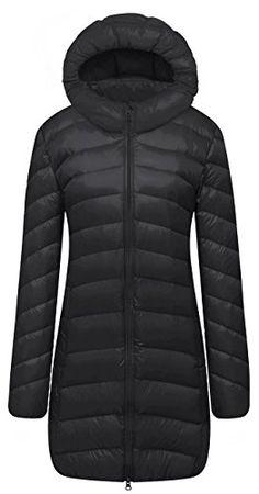 Cloudy Arch Women's Winter Lightweight Packable Hooded Down Coat(Black,L)