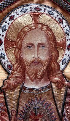 Sacred Heart of Jesus Unknown artist Banner Dutch Produced by H. Fermin, Delft ca. Heart Of Jesus, Jesus Is Lord, Embroidery Art, Embroidery Stitches, Jesus E Maria, In Christ Alone, Church Banners, Gold Work, Catholic Saints