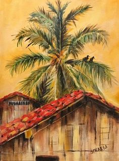 """""""Ecuador"""" painted by Sandi Schario. Love the tile roof, and birds in the trees. Beautifully painted. This is one of over 275 painting lessons available to our members at www.gingercooklive.gallery"""