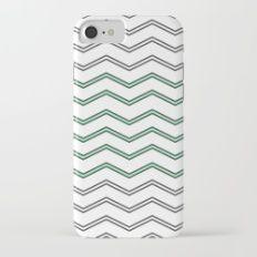 Modern Gray Mint Green Abstract Chevron Pattern Slim Case iPhone 7