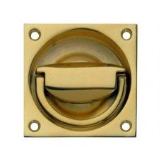 Flush Ring Pull Handle To Operate 65 X 65 Mm Polished Brass Finish Flush  Ring Pull