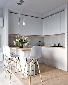45 Inspiring Modern Scandinavian Kitchen Design Ideas Home Design Ideas Minimalist Kitchen Design, Kitchen Design Trends, Home Decor Kitchen, Kitchen Room Design, Interior Design Kitchen, Kitchen Style, Small Modern Kitchens, Scandinavian Kitchen Design, Modern Kitchen Design