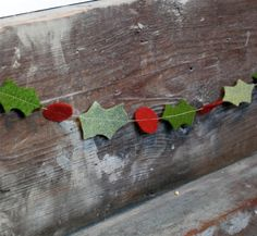 Christmas Garland Felt Holly  Rustic HandCut by thecleverlife, $13.00
