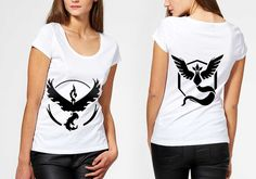 Clothing  Women's Clothing  Tops & Tees  T-shirts  pokemon go  pokemon shirt  pokemon tshirt  girl tshirt teenager tshirt  pokemon squad team  printed tshirt  black and white  logo on tshirt  tshirt logo  gift for teen videogame lover  gift for nerd Pokemon Go Tshirt logo valor instinct mystic squad team catch em all cosplay S M L XL girl woman paint black and white outdoor summer