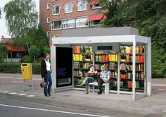 bus stop as a public library...