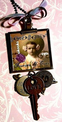 frame...Love the engraved keys & charms
