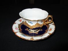 Meissen Porcelain Manufactory (Germany) — Cup and Saucer. Cobalt Blue White Gold Encrusted ,1935 (1600x1200)