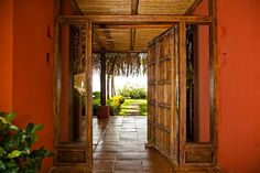 bamboo entry way. front door & wall color