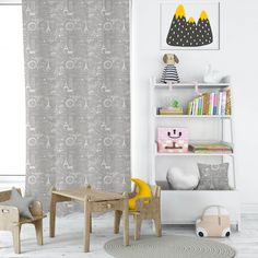 The perfect addition to a Parisian-themed bedroom. Plus, it has a neutral color scheme. You won't have a hard time pairing it with existing decors. Check out our website for more designs. Playroom Curtains, Childrens Curtains, Cute Curtains, Gold Curtains, Kids Curtains, Outdoor Curtains, Drapery Panels, Panel Curtains, Kids Blackout Curtains