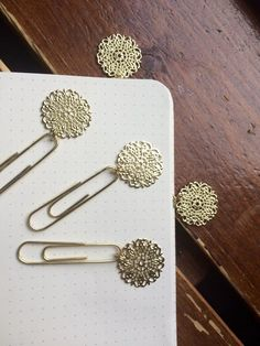 Planner Charms, Boho Mandala Paper Clips, Gold Paper Clips for Bullet Journal and Travelers Notebook, Secret Santa Gift Idea by MariMartiDesigns Bullet Journal Gifts, Bullet Journals, Junk Journal, Stationery Pens, School Stationery, Paper Clip Art, Creative Bookmarks, Handmade Leather Wallet, Gold Paper