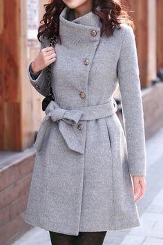 Plain Stand Collar Long Coat