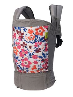 Boba Carrier 4G, Wildflower :: soft-structured baby carrier, gray, floral, beautiful, practical, easy.
