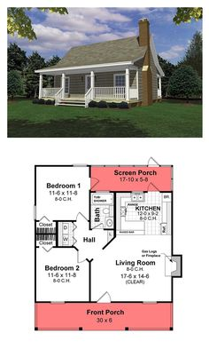 Cottage style cool house plan id chp 26434 total living area 800 sq ft 2 bedrooms 1 bathroom cottagestyle houseplan Small House Floor Plans, Cottage Floor Plans, Cabin Floor Plans, Best House Plans, Small House Plans Under 1000 Sq Ft, Small Cabin Plans, Little House Plans, Small Farmhouse Plans, Small Cottage House Plans