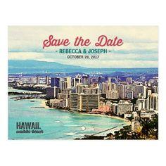 Hawaii Wedding Save the Date Cards Retro Hawaii Waikiki Beach Photo Save the Date Postcard