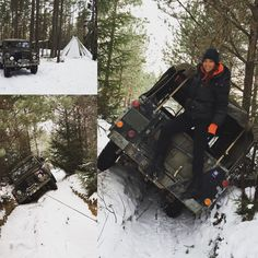 Land Rover Defender stuck (of course) in the snow
