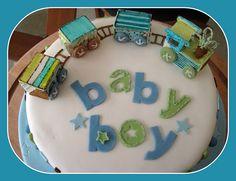 baby shower cake-train
