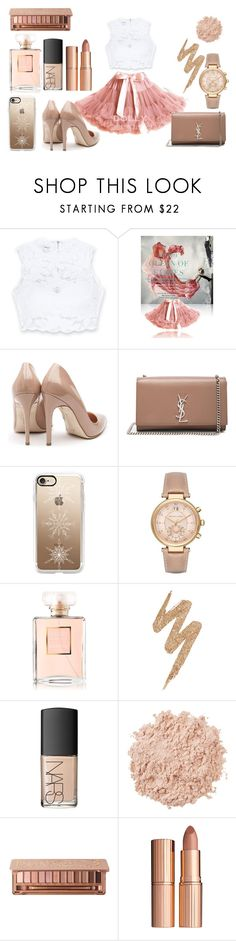 """""""My prom outfit"""" by tess-302 ❤ liked on Polyvore featuring Bebe, Rupert Sanderson, Yves Saint Laurent, Casetify, Michael Kors, Chanel, Urban Decay, NARS Cosmetics, La Mer and Charlotte Tilbury"""