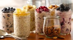 """""""Superpower"""" Overnight Refrigerator Oatmeal 6 different recipes. I looked into chia seeds and would just use flax seed instead. Lots of warnings with chia seeds. Breakfast And Brunch, Protein Packed Breakfast, Health Breakfast, Breakfast Healthy, Breakfast Cereal, Overnight Oats, Overnight Breakfast, Brunch Recipes, Breakfast Recipes"""
